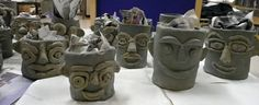 that artist woman: Father's Day Clay Pots  This could be a tiki canister project..5th?
