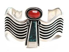 Silver overlay cuff with coral, bone and turquoise stone, by Tom, Mary and Jack, Navajo.