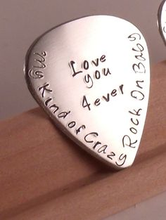 Hand Stamped Guitar PickPerfect Gift for Fathers Day by Namedrops, $27.00