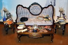 Gothic Witch Wizard Halloween dollhouse miniatures sofa end tables coffee table ooak Set. $135.00, via Etsy. MidnightDreams witch parlour