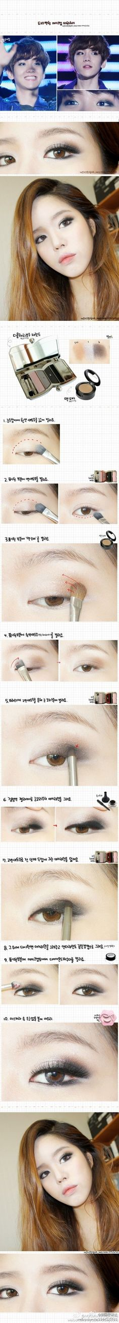 tutorial for some of Baekhyun's usual on-point makeup. I've got serious envy issues over that boy's eyeliner.