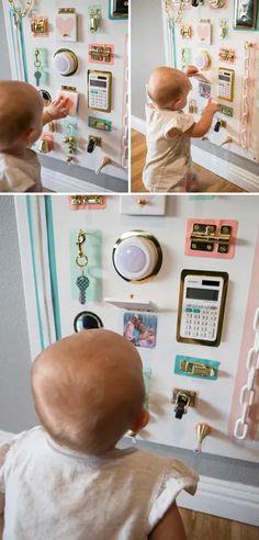 Diy Busy Board, Busy Board Baby, Toddler Busy Board, Baby Sensory Play, Baby Play, Infant Activities, Activities For Kids, Sensory Activities, Diy Sensory Board