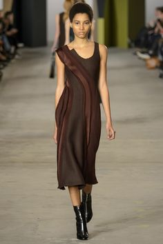 Flattering Sleeveless Briwn Dress by Boss Fall 2016 Ready-to-Wear Fashion Show