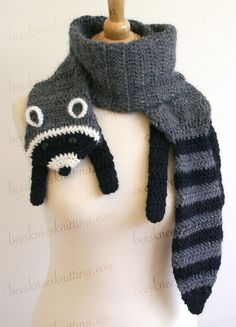 Digital PDF Crochet Pattern for Raccoon Scarf by BeesKneesKnitting