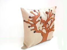 Appliqued pillow tree pillow decorative #Autumnhome #pillow #decor #handmade by NancyEllenStudios