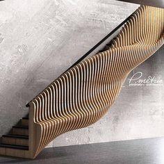 Que escada fabulosa hein? Modern Staircase Escada fabulosa h… - Popular Stair Handrail, Staircase Railings, Staircase Design, Stairways, Staircase Remodel, Open Staircase, Staircase Ideas, Banisters, Parametric Architecture