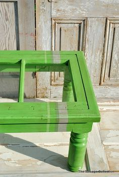 salvage upcycle #table from old door or window