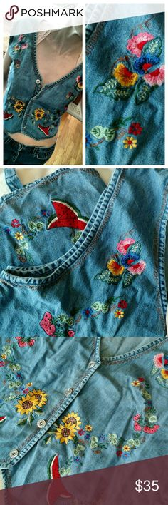 Vintage embroidered denim vest This little embroidered vintage chambray vest is SO on trend for such a fantastic boho vibe this summer.  Adorable!  Wear it so many ways!!!  Alone with a strappy bralette, or layered up, it says it's a large, but I am an xs but it has a tie in back that can be cinched and can pull it off with the right styling. Jackets & Coats Vests