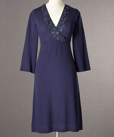 Take a look at this Dark Blue Paillette Crossover Dress - Women by Boden on #zulily today!