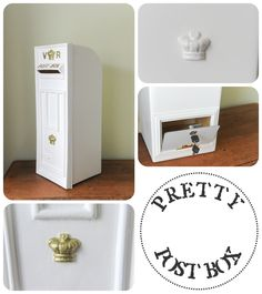 Our white VR Royal Mail post box with gold lettering - back opening / locking - large vintage wedding card box / wishing well Wedding Post Box, Wedding Hire, Card Box Wedding, Wedding Ideas, Letter Boxes, Vintage Wedding Cards, All Themes, Wishing Well, Royal Mail
