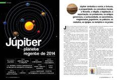 Página elegante e limpa sobre Júpiter, o planeta regente de 2014.