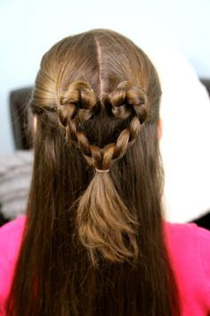 Twist-Braided Heart Hairstyle for Girls