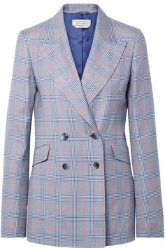 Gabriela Hearst's design process always starts with high-quality fabrics, but for her Resort '18 collection she adds color to the mix. This 'Angela' blazer is woven from a checked wool and silk-blend in blue, white and red hues. Peaked lapels, padded shoulders and double-breasted buttons create a sharp and flattering slim fit.