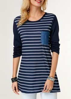 Button Embellished Stripe Print T Shirt Trendy Tops For Women, T Shirts For Women, Babe T Shirt, Stripe Print, Blue Tops, Colorful Shirts, Ideias Fashion, Street Wear, Casual Outfits