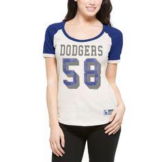 8281774a07f Women s Los Angeles Dodgers  47 Cream Triple Play Scoop T-Shirt
