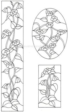 stained glass - perfect for a dollhouse Glass Painting Patterns, Stained Glass Patterns Free, Glass Painting Designs, Stained Glass Designs, Stained Glass Projects, Mosaic Patterns, Paint Designs, Embroidery Patterns, Stained Glass Flowers