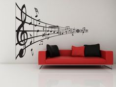 Music Line of Notes- Decal, Vinyl, Sticker, Music, Home Decor, Treble   VinylWallAccents - Housewares on ArtFire