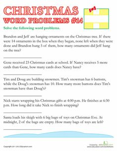 Worksheets: Christmas Word Problems #14