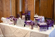 candy buffet wedding ideas purple and white