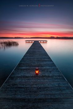 Calm down #sunset lake pier reflection beautiful nature