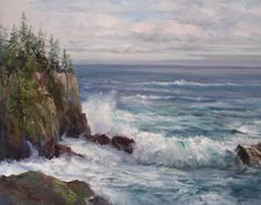 By Joyce Pike (location, Acadia National Park) Acadia National Park, National Parks, Pictures To Paint, Painting Pictures, Ocean Canvas, Oil Painters, Landscape Paintings, Landscapes, Fine Art Gallery