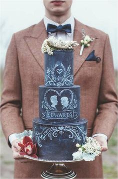 2015 Wedding Cake Trends:  Chalkboard Wedding Cakes   Chalkboard wedding cakes combine black with a touch of vintage to give a soft, rustic edge that can be decorated in all sorts of different hand-painted designs.     Artisan Cake Company