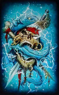 Friggin awesome work, and its all airbrush Pirate Art, Pirate Skull, Badass Drawings, Art Drawings, Arte Horror, Horror Art, Comic Kunst, Comic Art, Skull Art