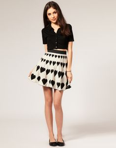 Heart Skirt from Asos #asos #skirt #hearts #black #neutral #mini