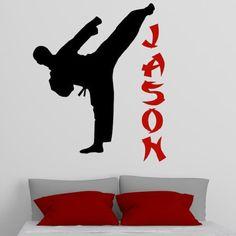 Personalized Name Taekwondo Vinyl Decal Wall Sticker Art Mural Boy Room Decor