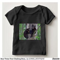 Bear Twins Tree Climbing Branches Cute Animals Art Baby Bodysuit