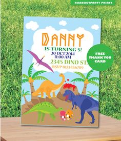 Instant Download-Dinosaurs Invitation card by AllAboutPartyPrints