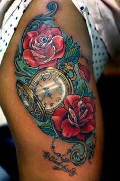 clock tattoos | Thigh Clock Flower Tattoo by Vaso Vasiko Tattoo