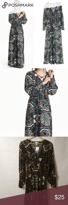 H&M Printed Lace Up Maxi Dress Like new Size 2 Long Sleeve  Two front splits H&M Dresses Maxi