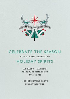Turtle Dove Perch by Julia Rothman for Paperless Post. Send custom online holiday party invitations with our easy-to-use design tools and RSVP tracking. View more holiday invitations on paperlesspost.com. #christmas #doves #acorns #decorating #evergreen