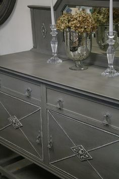 french linen and old white Anne Sloane chalk paint. Great color for dining room table