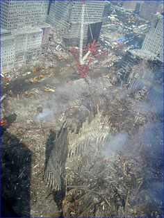 The debris pile at the World Trade Center, 09/11/2001