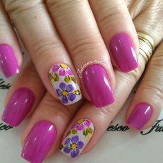 Flower Nail Designs, Pedicure Designs, Toe Nail Designs, Sunflower Nail Art, Celebrity Nails, Manicure And Pedicure, Trendy Nails, Wedding Nails, Toe Nails