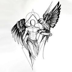 An amazing tattoo sketch of an angel with a raven sitting on his hand.