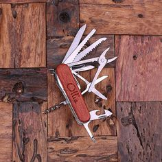 Personalized Wood Multi-tool Pocket Knife Bottle Opener Engraved and Monogrammed Groomsmen, Father's Graduation Gift for Men Swiss Army Like...