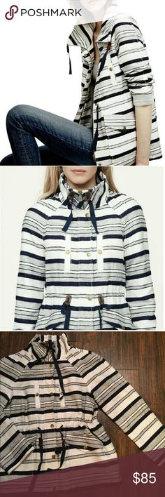 """•LOFT• Breton Stripe Anorak Coat LOFT Breton Stripe Anorak Coat in Excellent Used Condition. Nautical Style, Zipper Front Closure with Buttons. Funnel Neck, Drawstring Ties at a Collar and Waist with Faux Leather Cinch Tabs. Welt and Flap Pockets, Fully Lined. When Laying Flat: Bust Measures Approximately 18.5"""", Length 24.5"""" LOFT Jackets & Coats"""