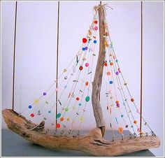 Driftwood and Color Bead boat