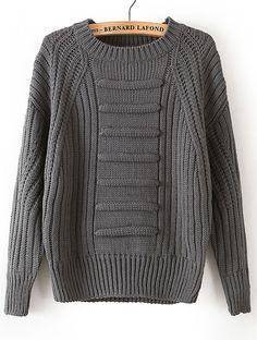 Grey Long Sleeve Striped Knit Loose Sweater - Sheinside.com