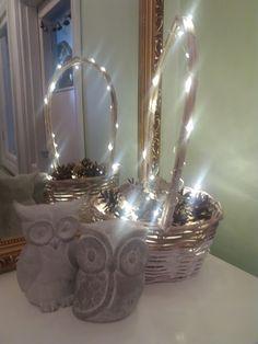 diy cone baskets light