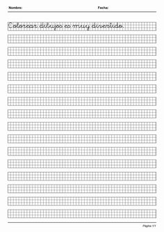 Actividades para niños preescolar, primaria e inicial. Imprimir fichas de caligrafia en cuadricula para niños de preescolar y primaria. Caligrafia en Cuadricula. 33