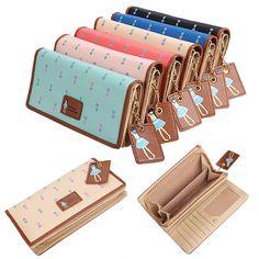 Fashion Lady Mulheres Couro Sintético Clutch Wallet Titular Caso Longo cartão bolsa de 6 cores