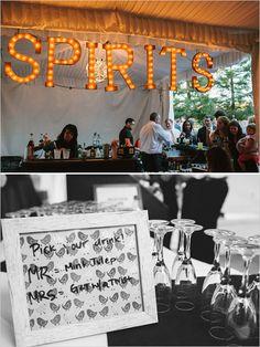 diy wedding bar sign.  http://www.weddingchicks.com/2014/01/31/vintage-barn-wedding-2/