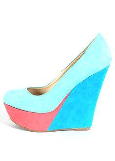Colorblock Wedge Shoe Teal