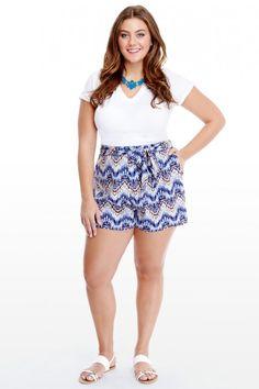 Plus Size Moonlight Tie Shorts | Fashion To Figure