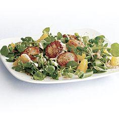 Scallops+with+Watercress,+Orange,+and+Miso+Vinaigrette