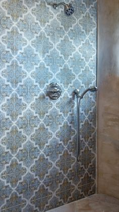 Strongly influenced by Moorish and Spanish design, the Isabella Mural by StoneImpressions beautifully depicts the feelings and influences of Mediterranean designs. Spanish Design, Mediterranean Design, Moorish, Tile Patterns, Shower, Bathroom, Wall, Rain Shower Heads, Washroom